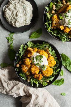 Tandoori Cauliflower Chickpea Bowls with Creamy Cashew Raita | The Full Helping