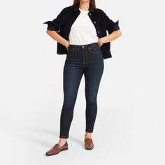 Women's Curvy Authentic Stretch High-Rise Skinny Jean by Everlane in Dark Blue Wash Curvy Skinny Jeans, Skinny Legs, Vogue, Ethical Clothing, Curvy Fit, Fall Wardrobe, Capsule Wardrobe, Wardrobe Ideas, Fashion Outfits