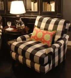 black and white buffalo plaid: this four-inch check is a big, statement fabric that plays well in the sandbox with everyone else. Like ticking, furniture upholstered in buffalo check can be dressed up in lots of different ways, depending upon what kind of pillows and throws you pair it with, the other furnishings in the room and the wall color.