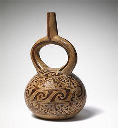 MOCHE culture North coast  Stirrup vessel with a geometric design, ca. 600 AD ceramic