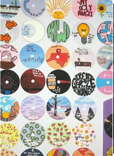Record Wall Art, Cd Wall Art, Cd Art, Small Canvas Art, Mini Canvas Art, Diy Canvas, Indie Room Decor, Cute Bedroom Decor, Hippie Painting
