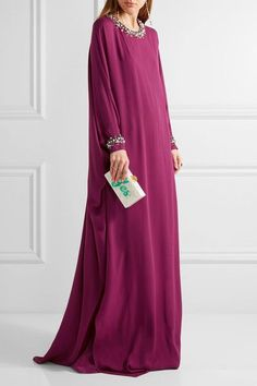 Burgundy silk crepe Concealed hook fastening at back 100% silk Dry clean Designer color: Currant Edie Parker Clutch, Jennifer Fisher, African Attire, Silk Crepe, Kaftan, Burgundy, Bridesmaid Dresses, Gowns, Crystals