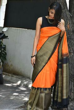 I want this saree baadly Latest Elegant Saree CLICK VISIT link above to read Saree Blouse Neck Designs, Bridal Blouse Designs, Indian Dresses, Indian Outfits, Silk Saree Kanchipuram, Kanjivaram Sarees, Modern Saree, Indian Attire, Indian Wear