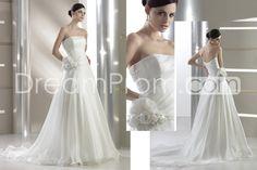 Elegant A-line Strapless Sleeveless Floor-Length Chapel Flower Wedding Dresses