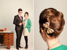 she & him/mad men inspired wedding--great hair! Dance Hairstyles, Retro Hairstyles, Bride Hairstyles, Bridal Side Bun, Bridal Hair, Cut My Hair, Her Hair, Special Occasion Hairstyles, Braut Make-up