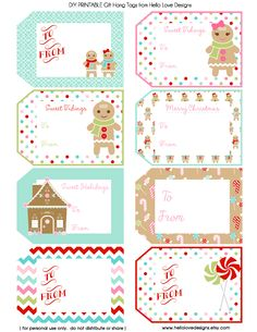 Printable Gift Tags - Gingerbread