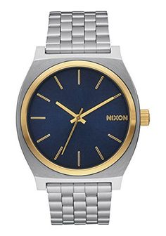 NEW Nixon Time Teller Watch Silver Gold Blue Sunray >>> Read more reviews of the product by visiting the link on the image.