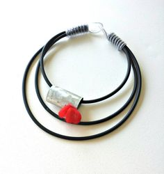 Rubber necklace  Statement necklace  Contemporary by PevalekArt