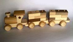 Wooden Train with building blocks  by PolishFolkArtShop on Etsy, £14.00