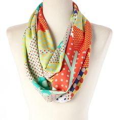 "Polka Dot Infinity  Scarf Made from cotton for soft touch this lively scarf will add texture and warmth to your neckline. 8"" wide X 64"" circumference. 100% cotton. Trend Accessories Scarves & Wraps"