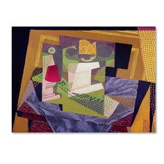 This ready to hang, gallery-wrapped art piece features a cubist still life on a table top. Jose Victoriano (Carmelo Carlos) Gonzalez-Perez, better known as Juan Gris, was a Spanish painter and sculpto