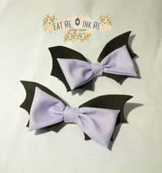 Batty Chan hair clip bat wings bow in lavender gothic lolita pastel goth fairy kei creepy cute