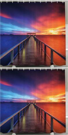 $16.07 Setting Sun Print Waterproof Mouldproof Shower Curtain - Cadetblue