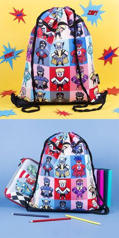 How awesome is this superhero bag? This would make a great gift for boys: the stylish look will make all the kids jealous of your cool image. Kids Backpacks, School Backpacks, Nursery Accessories, Jealous Of You, Gifts For Boys, Bold Colors, Gym Bag, Great Gifts, Superhero