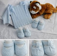 Baby sweater, straightforward square construction, lace on the body [https://www.pinterest.com/pin/460563499369672923/], plain reverse stockinette sleeves with only one lace repeat from the shoulder down the sleeve. And the adorable Mary Janes bootees again. ~~ El baul del bebe