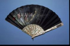 Silk fan, silk with metal and mother of pearl, possibly French, 1880