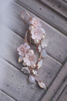 Handmade Wedding Jewellery, Earrings Handmade, Wedding Jewelry, Wedding Hair, Pink Jewelry, Hair Jewelry, Boho Jewelry, Rose Gold Earrings, Wedding Earrings