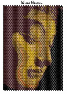 Bouddha Cross Stich Patterns Free, Peyote Patterns, Beading Patterns, Free Pattern, Perler Bead Art, Hama Beads, Beaded Embroidery, Embroidery Stitches, Cross Stitch Beginner
