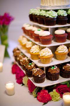 Pink Green Virginia Farm Spring Wedding Cupcake Buffet 275x412 Jamie + Chads Pink & Green Virginia Wedding, Part 2