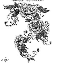 Black And White Flower Tattoos | Curly black and white flower tattoo design. Abstract but still ...