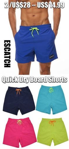 a1da7806a868 Mens Summer Quick Dry Water Repellent Sport Drawstring Solid Color Board  Shorts is funny and quality.