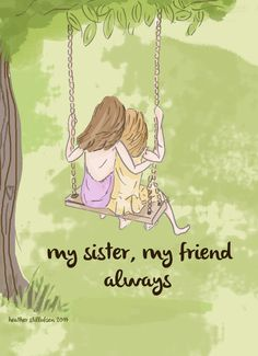 Art for girls room - Sister Wall Art - Digital Art Print - Sisters-  Sisters on The Swing - Children's Wall Art -- Print