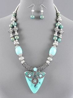 Aqua Blue Tribal Designer Necklace Set | TaosSouthwest - Jewelry on ArtFire