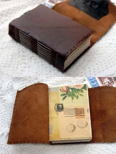The Novelist - Rustic Brown Leather Journal with Tea Stained Watercolour Paper & Vintage Lace Window. $110.00, via Etsy.