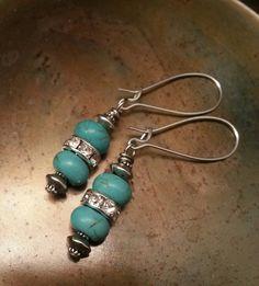 Rhinestone Turquoise Earrings  Turquoise Jewelry by belmonili, $15.00