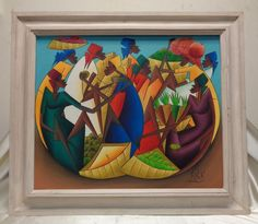 Signed African Women & Fruit Vintage Oil Painting in White Vintage Wood Frame #Abstract