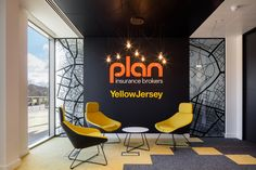 Office Principles has completed the design for the Plan Insurance Brokers offices located in Redhill, England. Plan Insurance had outgrown their Office Wall Design, Cool Office Space, Modern Office Design, Office Workspace, Office Walls, Office Interior Design, Office Designs, Tiny Office, Front Office