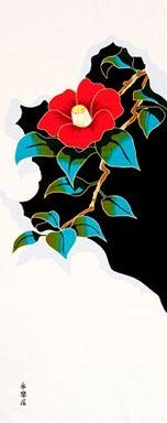 Tenugui towel with camellia pattern