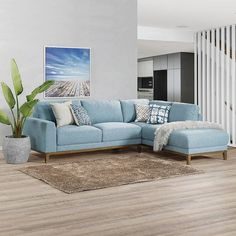 Available in both a light blue and grey the Allana Corner Chaise is the perfect balance between comfort and eye-catching style. The only question is blue or grey? Blue Couch Living Room, Colourful Living Room, Home Living Room, Living Room Decor, Corner Furniture, Lounge Furniture, Lounge Sofa, Living Room Color Schemes, Living Room Designs