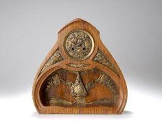 Maurice Dufrène (1876-1955) - Table Clock. Carved Elm Wood with Gilt Brass Mounts & Hardware. Designed & Made for La Maison Moderne, Paris. France. Circa 1900. 32.5cm x 32.5cm x 8.3cm.