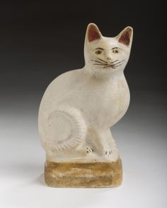Pennsylvania Painted Chalkware Figure of a Seated Cat