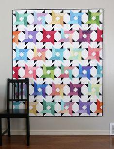 Gem Stones – Windy City Quilt – Riley Blake Designs Jelly Roll Quilt Patterns, Modern Quilt Patterns, Jellyroll Quilts, Scrappy Quilts, Crumb Quilt, Quilt Sizes, Star Quilts, Quilting Tutorials, Quilting Ideas