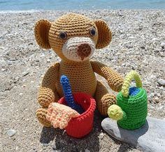 "Summer Teddy and Beach Toys - Free Amigurumi Crochet Pattern - Dutch, German and English Pattern - PDF Format - Click at the end of post in blue letters: ""Teddy"" and "" Bucket,watering can,shovel, rake"""