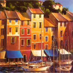 Portofino Waterfront Print by Michael O'Toole Vancouver, British Columbia, Canada) Art For Sale Online, Italy Art, Condo Decorating, Artist Gallery, Office Art, Artist Painting, Watercolor Paintings, Vintage Art, Framed Art