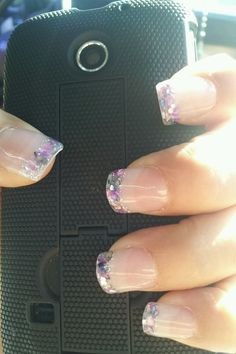 Sea shell purple grey short nails by: Patty Gonzalez
