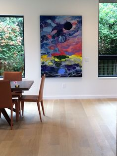 An early introduction of Darryl Hughto's work to Seattle.  This new work is viewed in the entry to a client's beautiful home with water and mountain views. #DarrylHughto #SchulteFineArt #AbstractArt #ColorfieldPainting #FineArt #AcrylicOnCanvas #art #painting