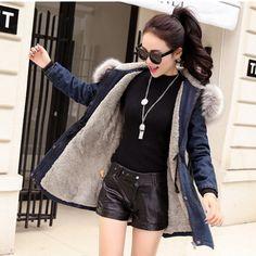 YUS 2017 Women Denim Jacket Large Fur Collar Cotton coat bomber jacket women Ladies Casual long sleeve blue solid zipper loose
