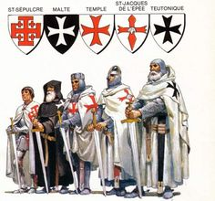 Mysteries of the Knights Templar, Cathars, Rennes-le-Chateau, the Holy Grail and Trobadours . The main Catholic military orders of monastic-knights Knights Hospitaller, Knights Templar, Medieval Knight, Medieval Fantasy, Knight Orders, Crusader Knight, Military Orders, Military Ranks, Armadura Medieval