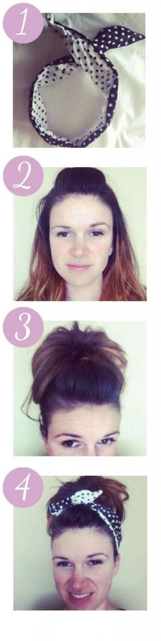 A ten second updo for busy Mama Lion's - cute poofy bun with a headband.