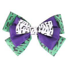 DC Comics The Joker HAHA Cosplay Hair Bow Hot Topic ❤ liked on Polyvore featuring accessories, hair accessories and hair bow accessories