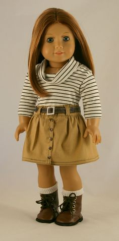 American Girl Doll Clothes - Khaki Skirt, Striped Cowl, and Leather Belt