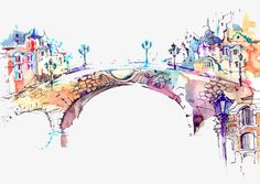 Watercolor color bridge high - definition deduction material, Watercolor Bridge, Color Line Drawing, Painted PNG Image and Clipart