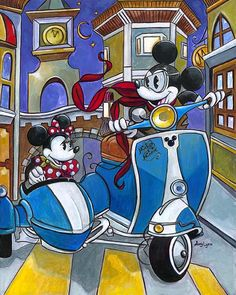 """Sidecar Adventures"" by Amy Lynn | Disney Fine Art | Disney's Mickey and Minnie Mouse"