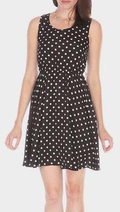 Black & White Polka Dot Sleeveless Dress        Totally rachel berry