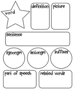 Vocabulary Graphic Organizer... Only I need to make one a little less in depth for 1st graders.