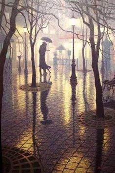 Rainy Night Romance by  Denis Nolet, Canadian painter